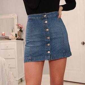 H&M Denim Button Up Mini Skirt Size 4